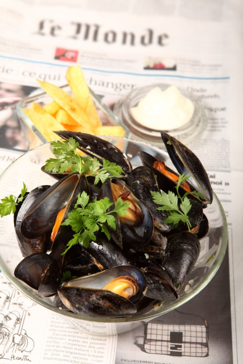 Moules frites med trippel-cooked chips