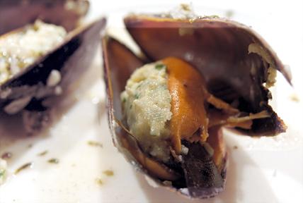 Musslor med torskfärs